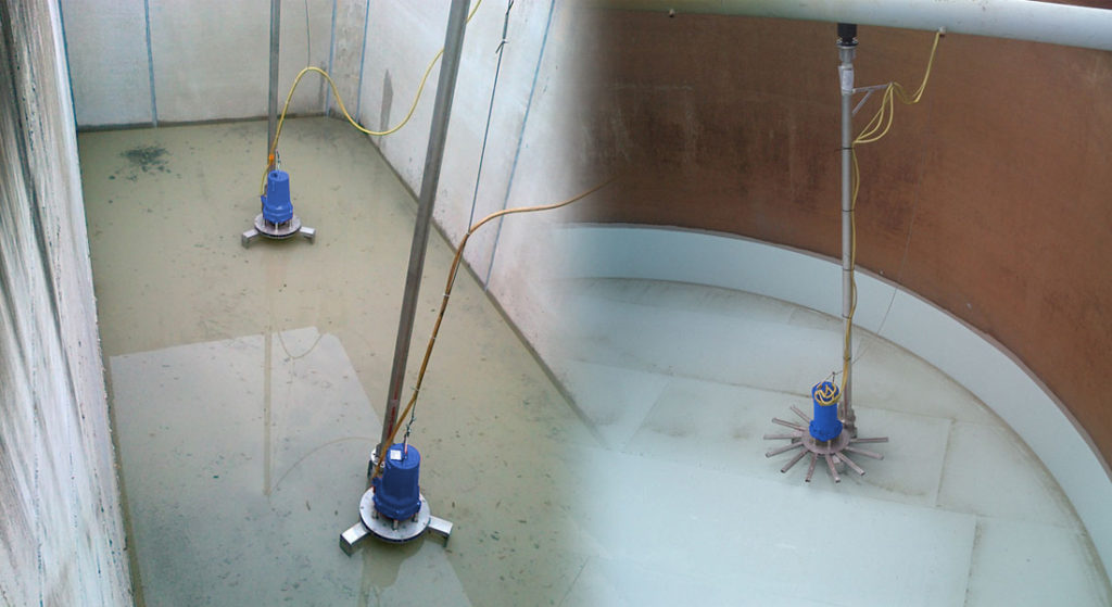 Example of different types submersible self-aspirating aerators.